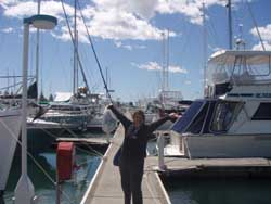 Sharon happy to be in a marina